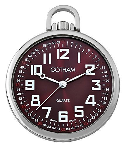 Gotham Men's Silver-Tone Ultra Thin Railroad Open Face Quartz Pocket Watch # GWC15027SM - Gotham Watch