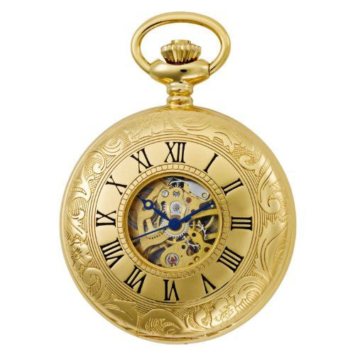 Gotham Men's Gold-Tone Mechanical Pocket Watch with Desktop Stand # GWC14040G-ST - Gotham Watch