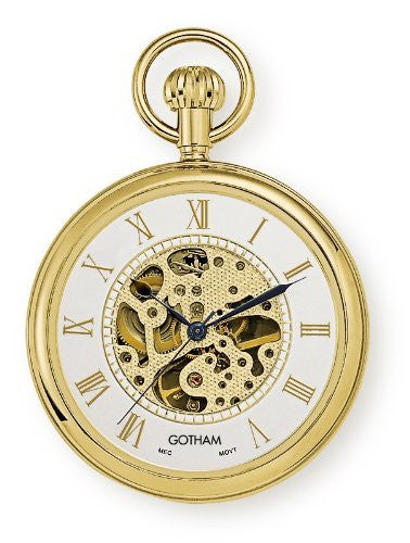 Gotham Men's Gold-Tone 17 Jewel Mechanical Open Face Pocket Watch # GWC14034GR