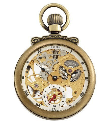 Gotham Men's Antique Gold-Tone Mechanical Pocket Watch with Built-in Stand # GWC14068G - Gotham Watch