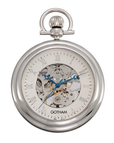 Gotham Men's Silver-Tone Mechanical Pocket Watch with Desktop Stand # GWC14055S-ST - Gotham Watch