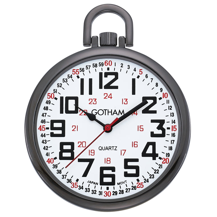 Gotham Men's Gun-Tone Slim Railroad 24 Hour Open Face Quartz Pocket Watch # GWC15029B - Gotham Watch