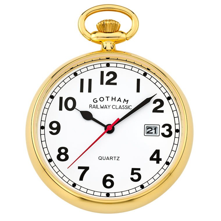 Gotham Men's Gold-Tone Analog Quartz Date Railroad Pocket Watch # GWC14101G - Gotham Watch