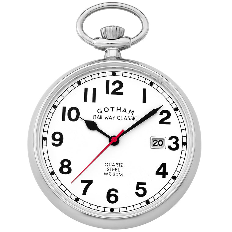 Gotham Men's Stainless Steel Analog Quartz Date Railroad Pocket Watch # GWC14101S