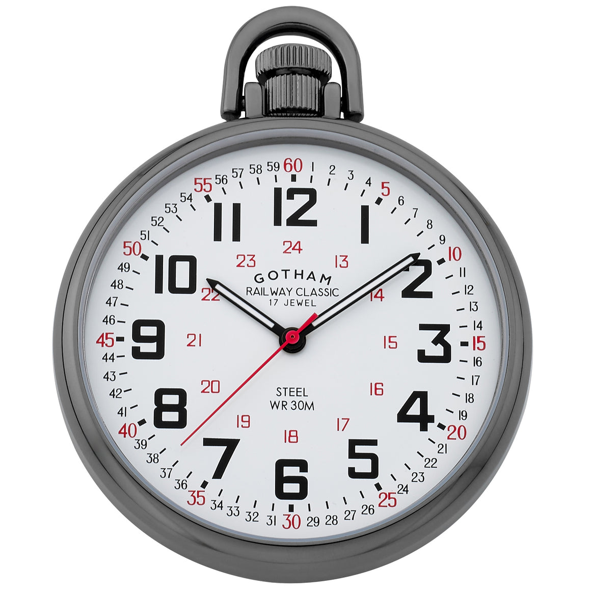Gotham Men's Gun-Plated Stainless Steel Mechanical Hand Wind Railroad Style Pocket Watch # GWC14106B - Gotham Watch