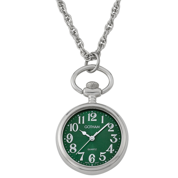 Gotham Women's Silver-Tone Open Face Pendant Watch with Chain # GWC14140SA