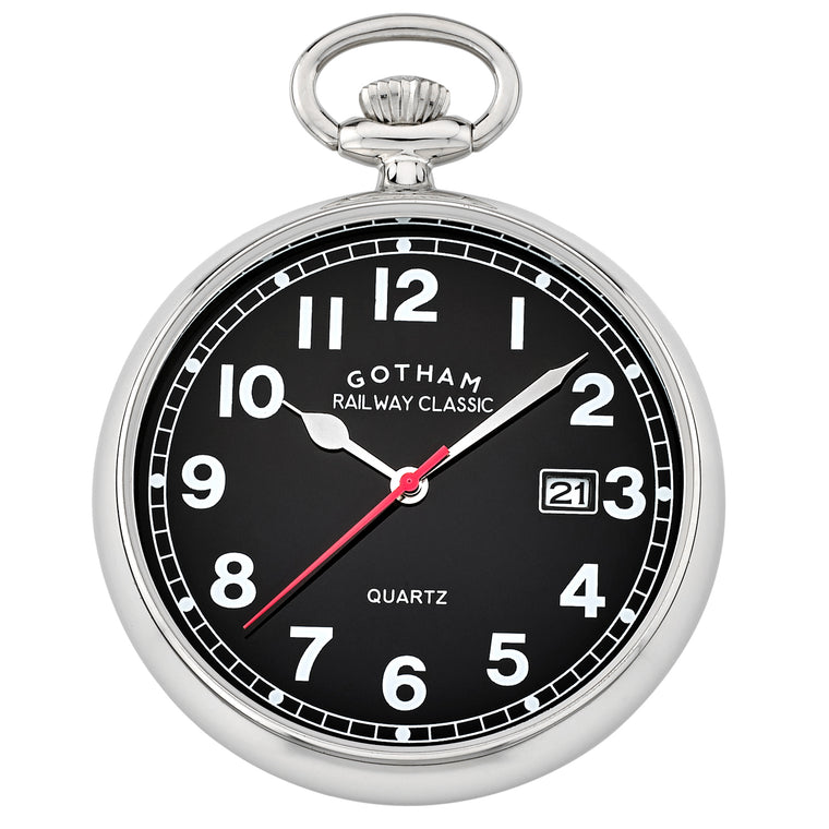 Gotham Men's Stainless Steel Analog Quartz Date Railroad Pocket Watch # GWC14101SB