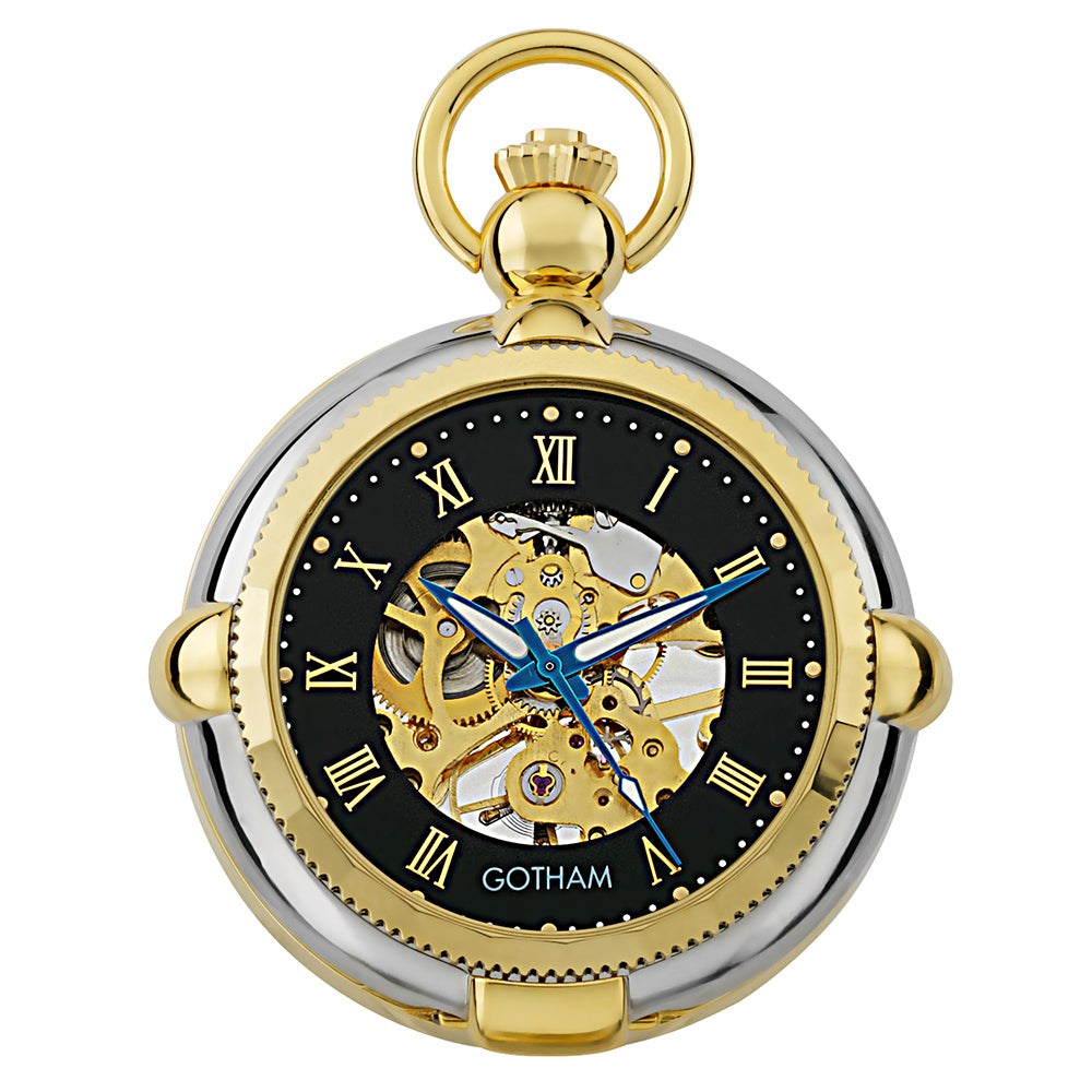 gotham men s two tone photo insert skeleton pocket watch with built