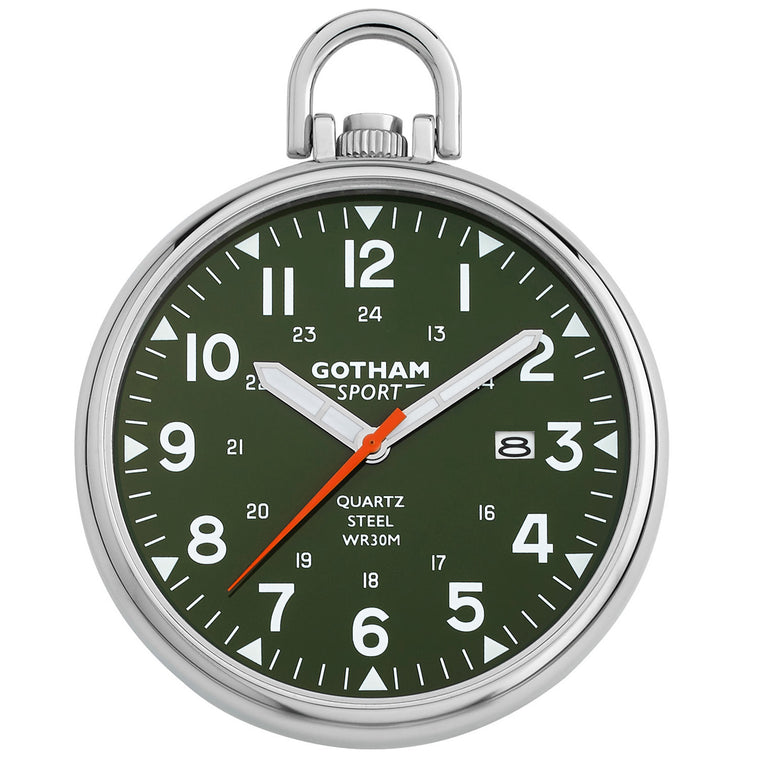 Gotham Men's Sport Series Stainless Steel Analog Quartz Date Pocket Watch # GWC14109SG