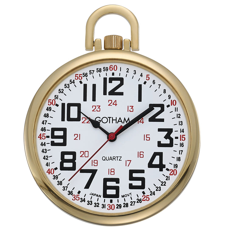 Gotham Men's Gold-Tone Slim Railroad 24 Hour Open Face Quartz Pocket Watch # GWC15029G