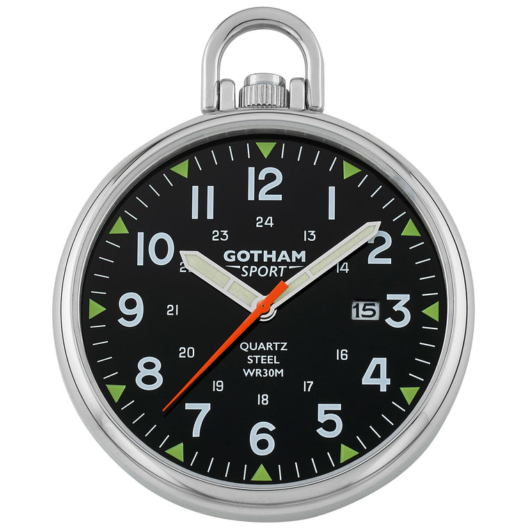 Gotham Men's Sport Series Stainless Steel Analog Quartz Date Pocket Watch # GWC14109SB - Gotham Watch