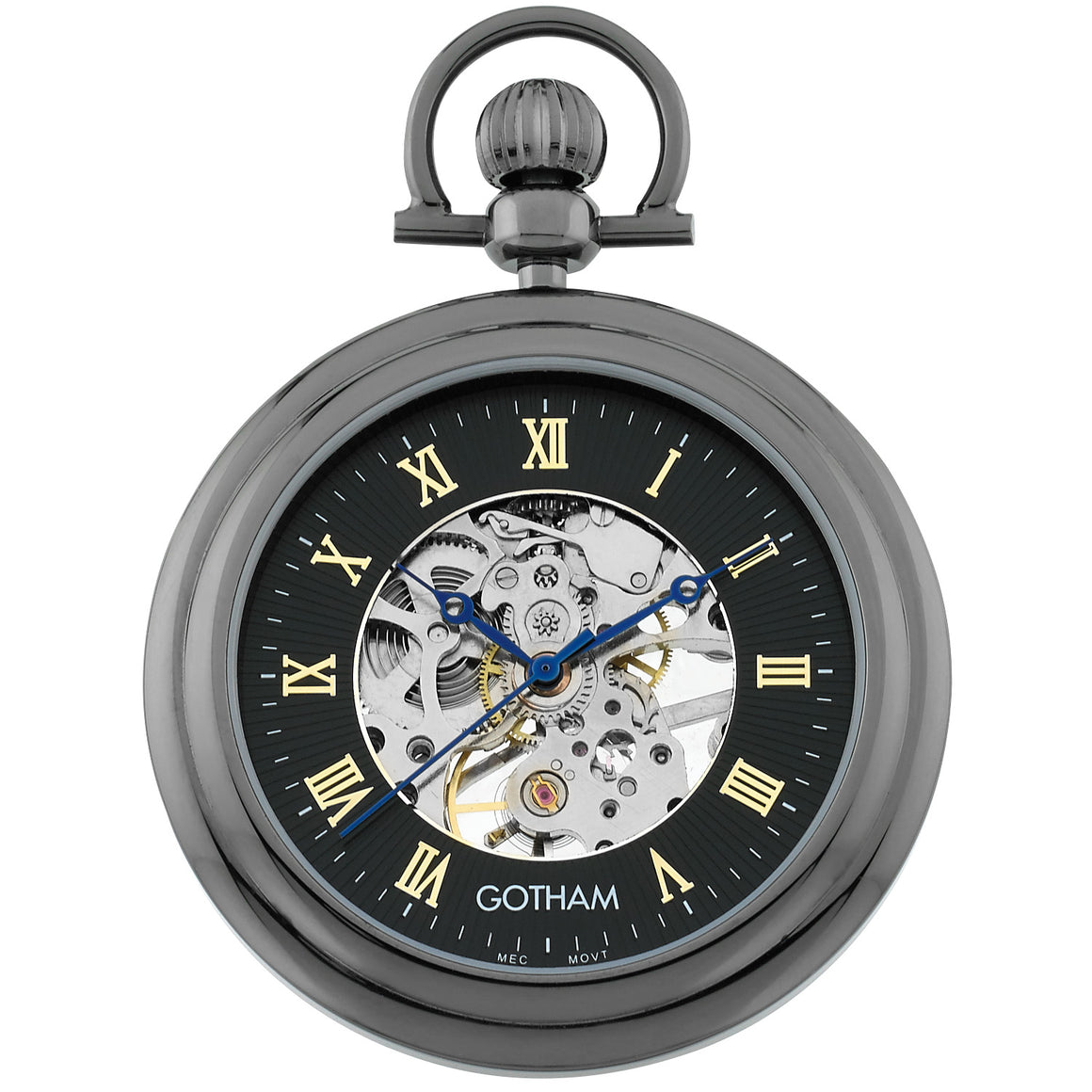 Gotham Men's Gun-Tone Mechanical Pocket Watch with Built-in Stand # GWC14055BBK - Gotham Watch