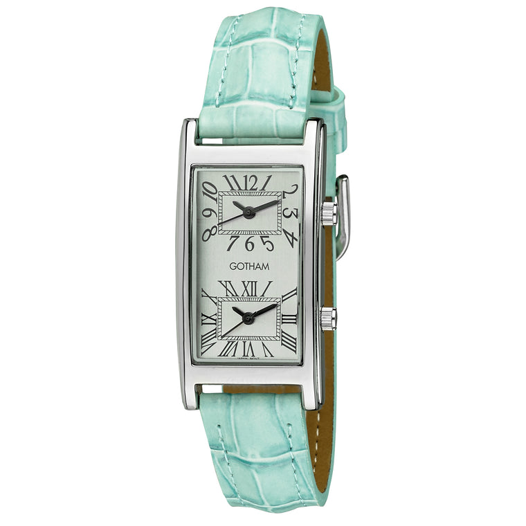 Gotham Woman's Silver-Tone Dual Time Blue Leather Strap Watch # GWC15090SBU - Gotham Watch