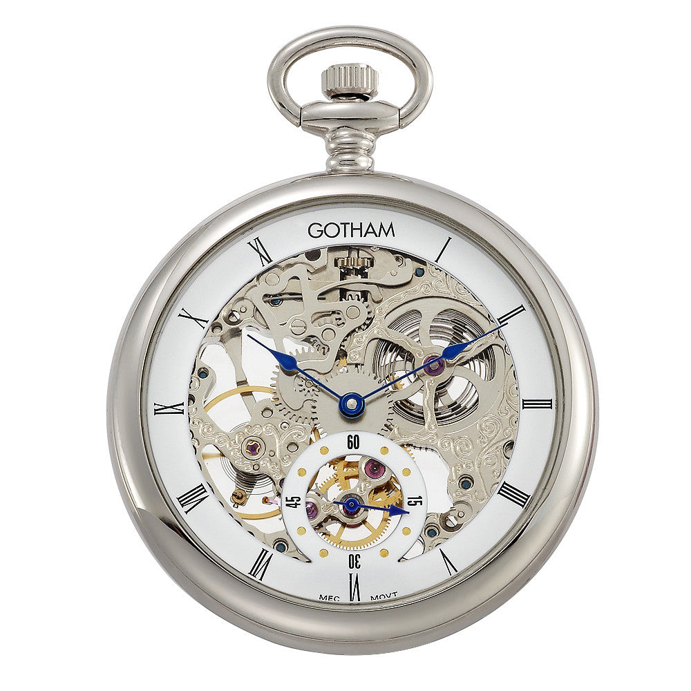 gotham men s silver tone 17 jewel mechanical skeleton pocket watch