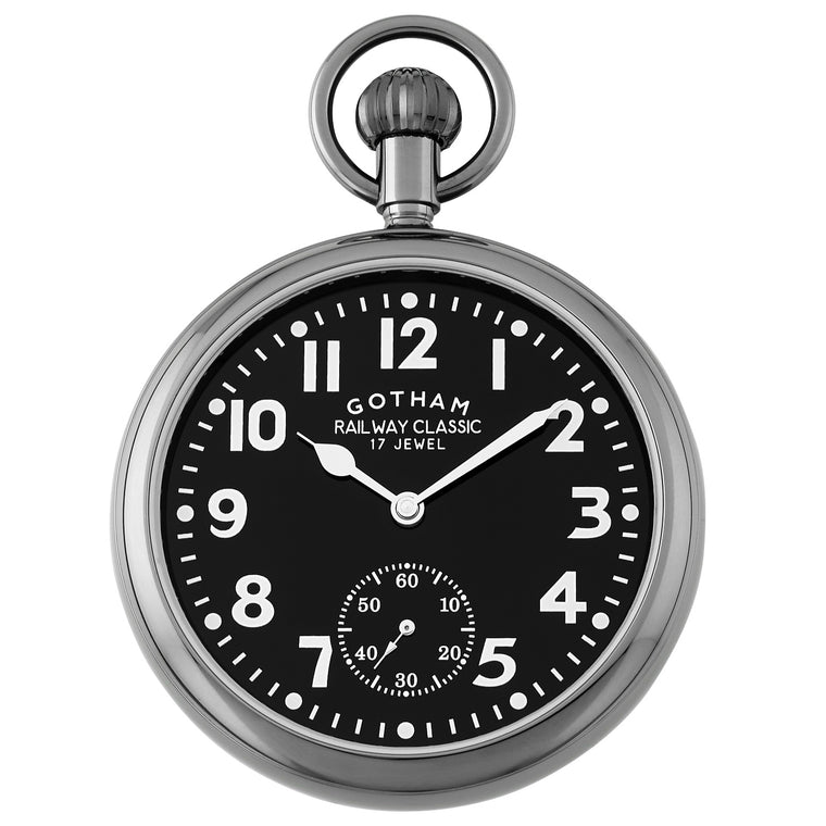 Gotham Men's Gun-Tone Mechanical Hand Wind Railroad Pocket Watch # GWC14104BBK - Gotham Watch