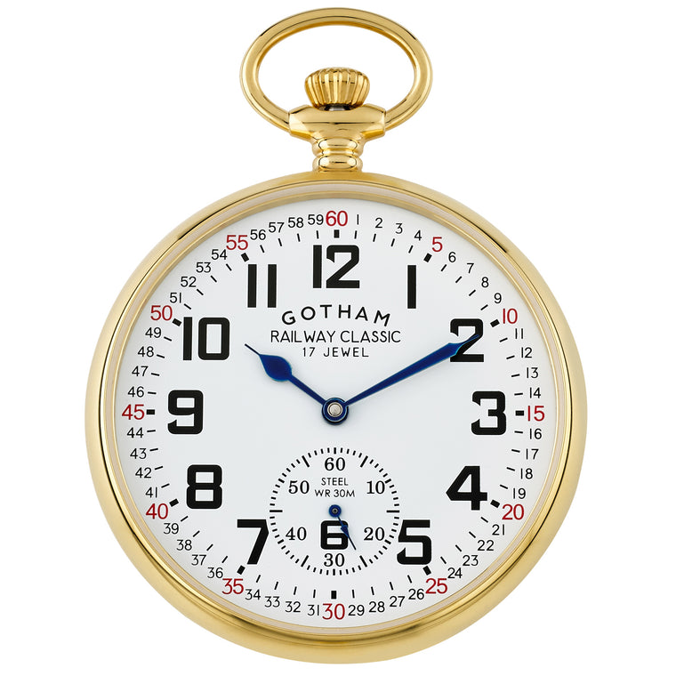 Gotham Men's Gold-Tone Stainless Steel Mechanical Hand Wind Railroad Pocket Watch # GWC14103G