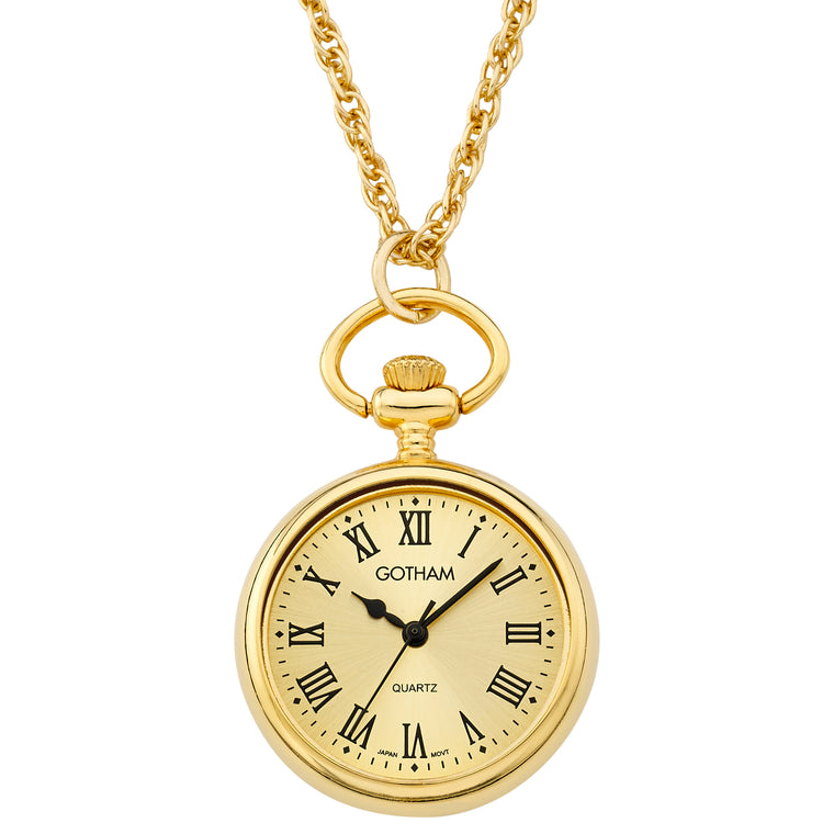 Gotham Women's Gold-Tone Open Face Pendant Watch With Chain # GWC14134GR