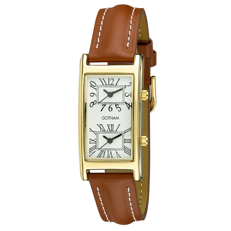 Gotham Unisex Gold-Tone Dual Time Zone Leather Strap Watch # GWC15090GT