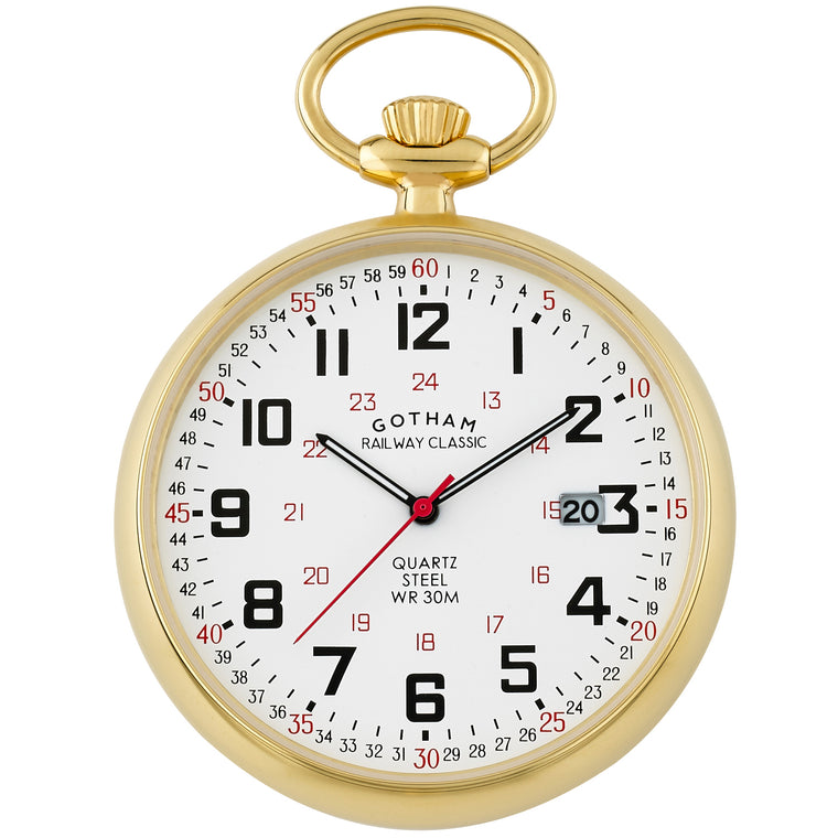 Gotham Men's Gold Plated Stainless Steel 30M WR Analog Quartz Date Railroad Pocket Watch # GWC14105G - Gotham Watch
