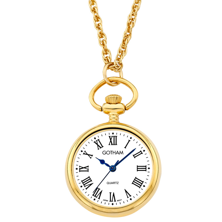 Gotham Women's Gold-Tone Open Face Pendant Watch With Chain # GWC14135GR
