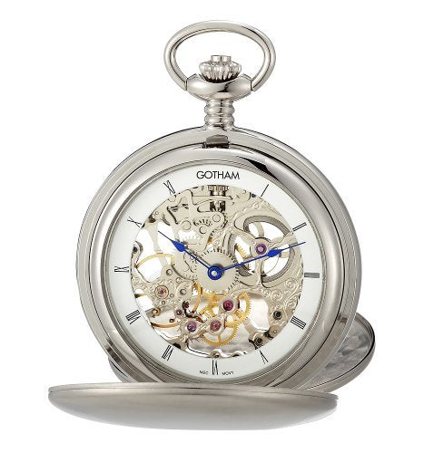 Gotham Men's Silver-Tone Mechanical Pocket Watch with Desktop Stand # GWC18801S-ST - Gotham Watch