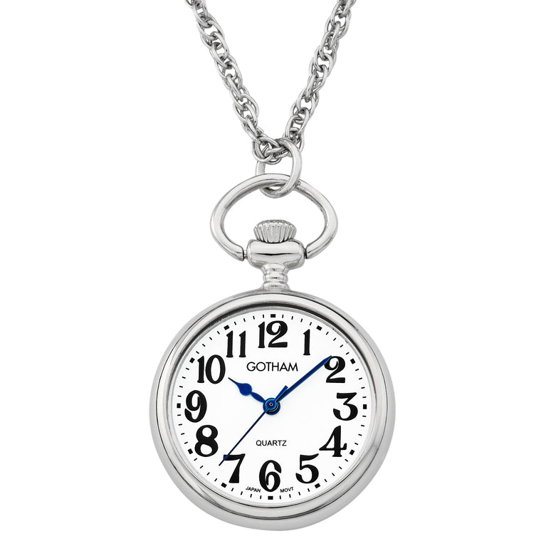 Gotham Women's Silver-Tone Open Face Pendant Watch With Chain # GWC14135SA