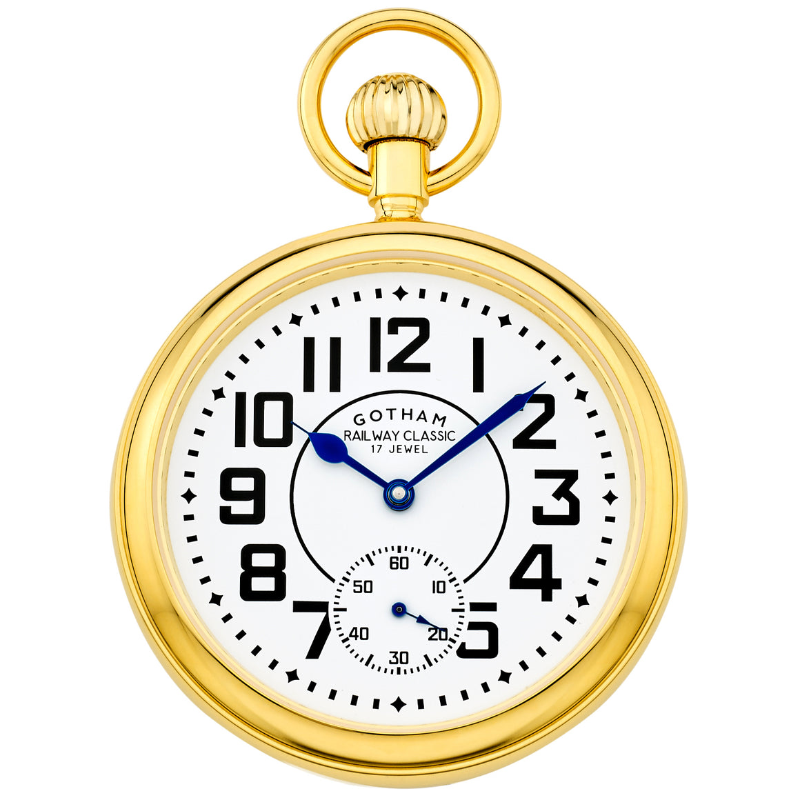 Gotham Men's Gold-Tone Mechanical Hand Wind Railroad Pocket Watch # GWC14102G - Gotham Watch