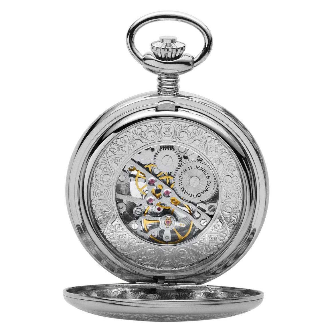 Gotham Men's Silver-Tone Mechanical Pocket Watch with Desktop Stand # GWC14040SB-ST - Gotham Watch