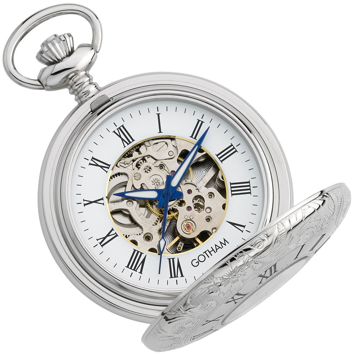 Gotham Men's Silver-Tone 17 Jewel Mechanical Exhibition Pocket Watch # GWC14040S