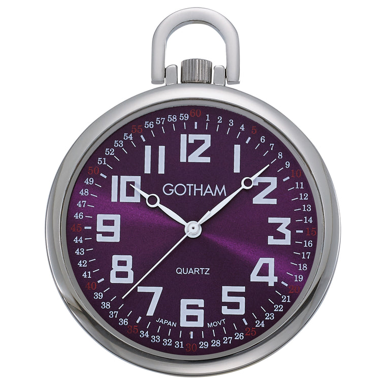 Gotham Men's Silver-Tone Slim Railroad 24 Hour Open Face Quartz Pocket Watch # GWC15027SP - Gotham Watch