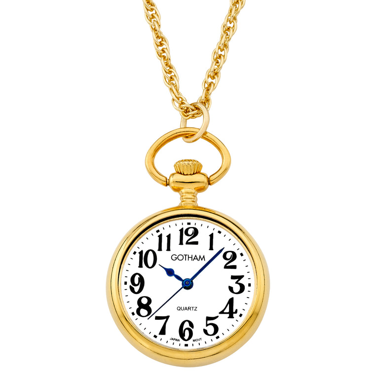 Gotham Women's Gold-Tone Open Face Pendant Watch With Chain # GWC14135GA