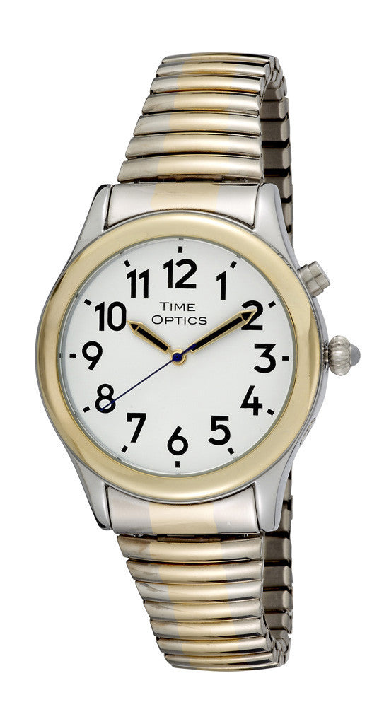 TimeOptics Men's Talking Two-Tone Day Date Alarm Expansion Bracelet Watch # GWC019TT - Gotham Watch