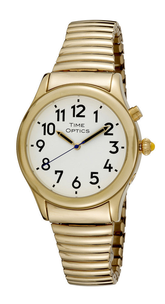 TimeOptics Men's Talking Gold-Tone Day Date Alarm Expansion Bracelet Watch # GWC020GT
