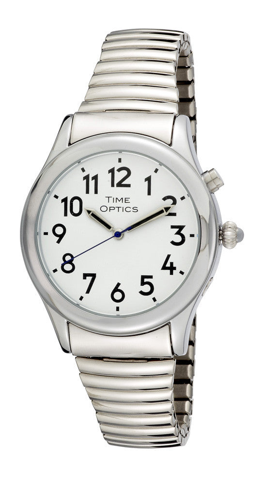 TimeOptics Men's Talking Silver-Tone Day Date Alarm Expansion Bracelet Watch # GWC021ST - Gotham Watch