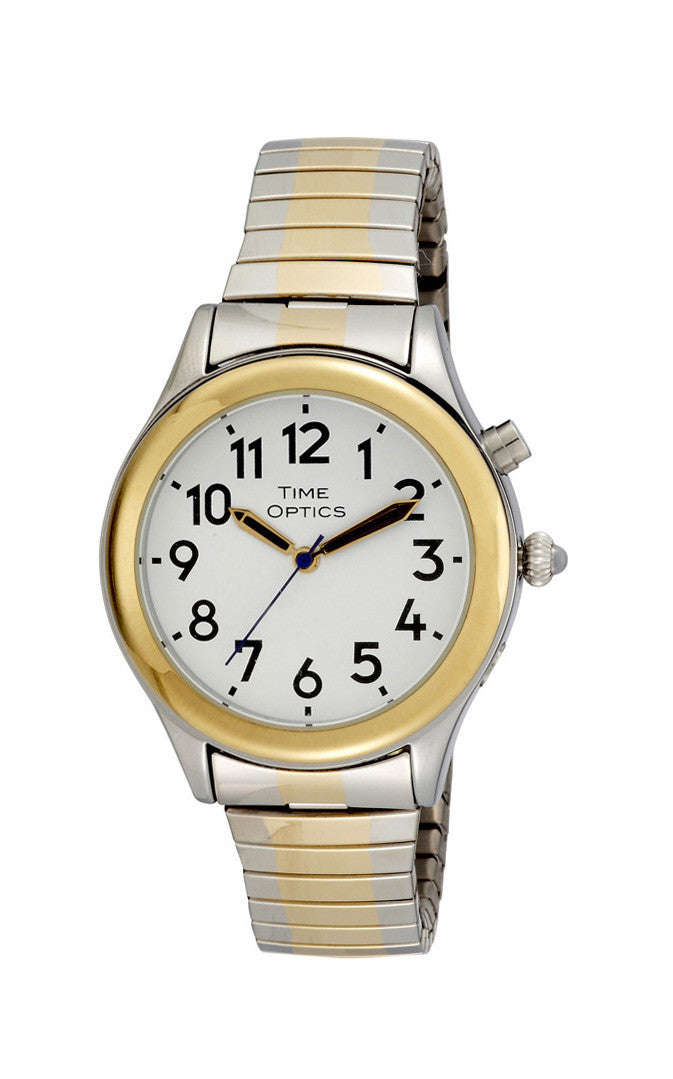 TimeOptics Women's Talking Two-Tone Day Date Alarm Expansion Bracelet Watch # GWC07TT - Gotham Watch