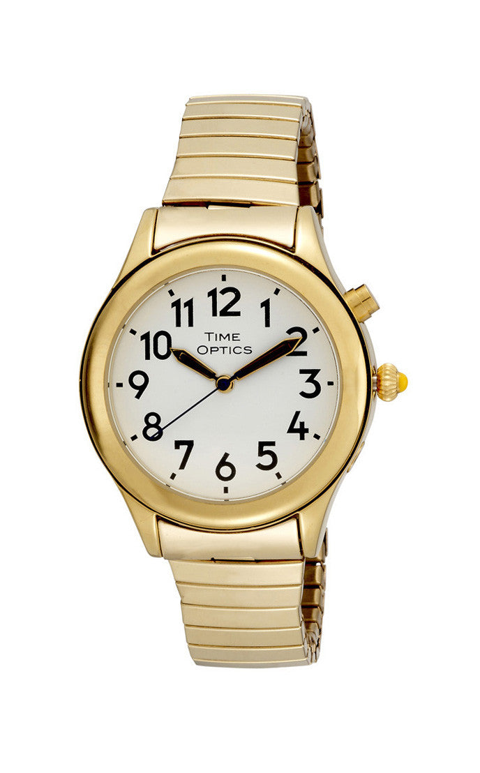 TimeOptics Women's Talking Gold-Tone Day Date Alarm Expansion Bracelet Watch # GWC08GT - Gotham Watch