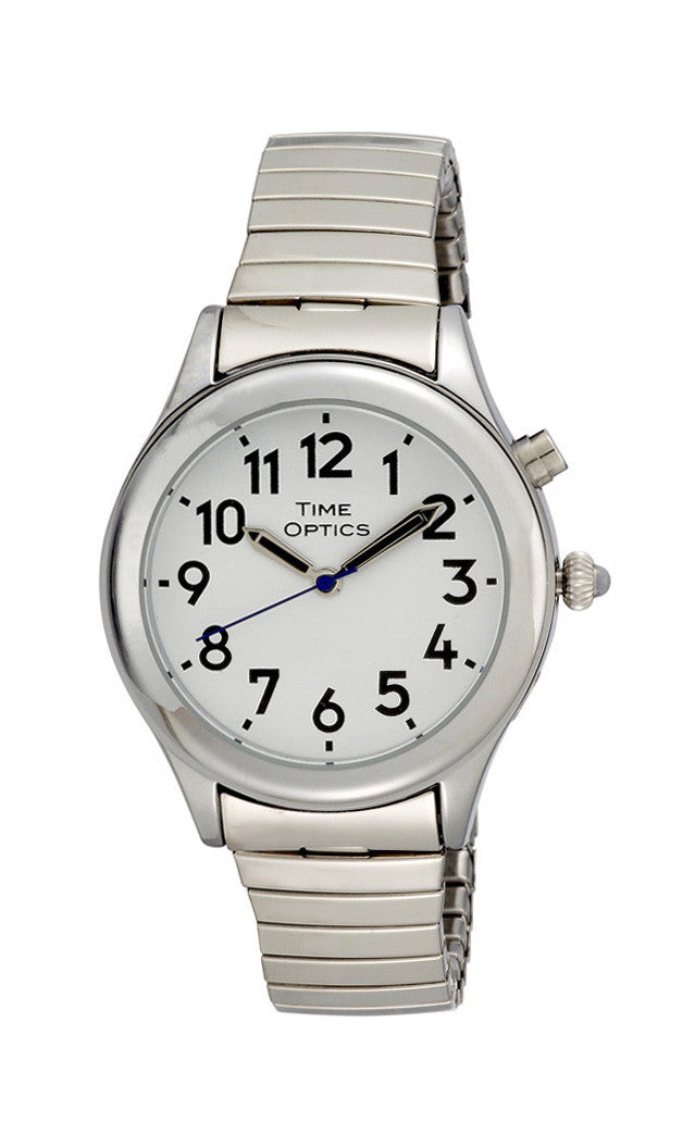 TimeOptics Women's Talking Silver-Tone Day Date Alarm Expansion Bracelet Watch # GWC09ST - Gotham Watch