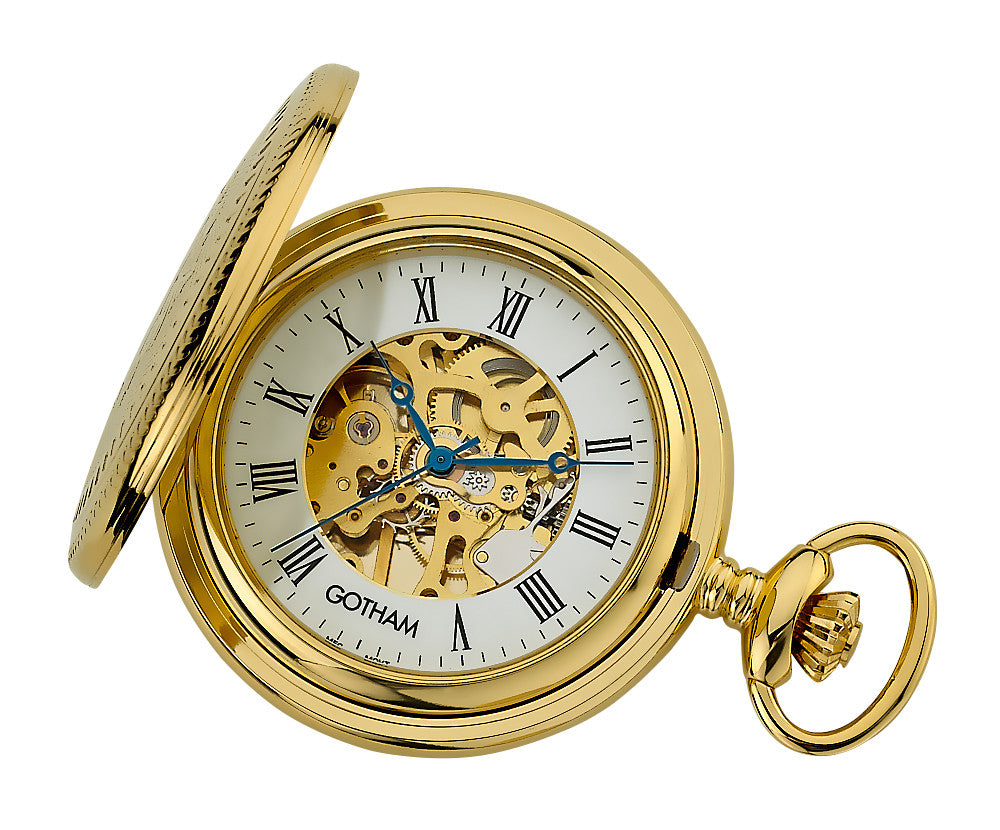 Gotham Men's Gold-Tone Mechanical Pocket Watch with Desktop Stand # GWC14035G-ST - Gotham Watch