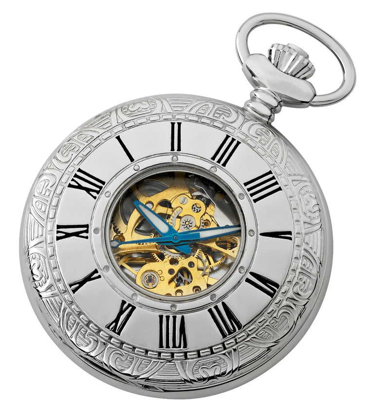 Gotham Men's Silver-Tone 17 Jewel Mechanical Covered Pocket Watch # GWC14036SG - Gotham Watch
