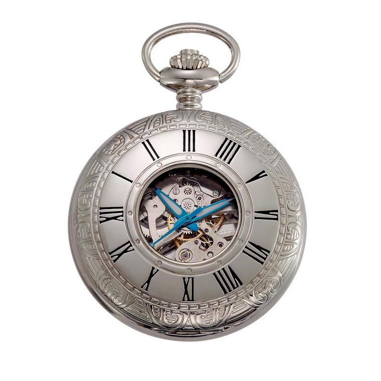 Gotham Men's Silver-Tone 17 Jewel Mechanical Covered Pocket Watch # GWC14036SB - Gotham Watch
