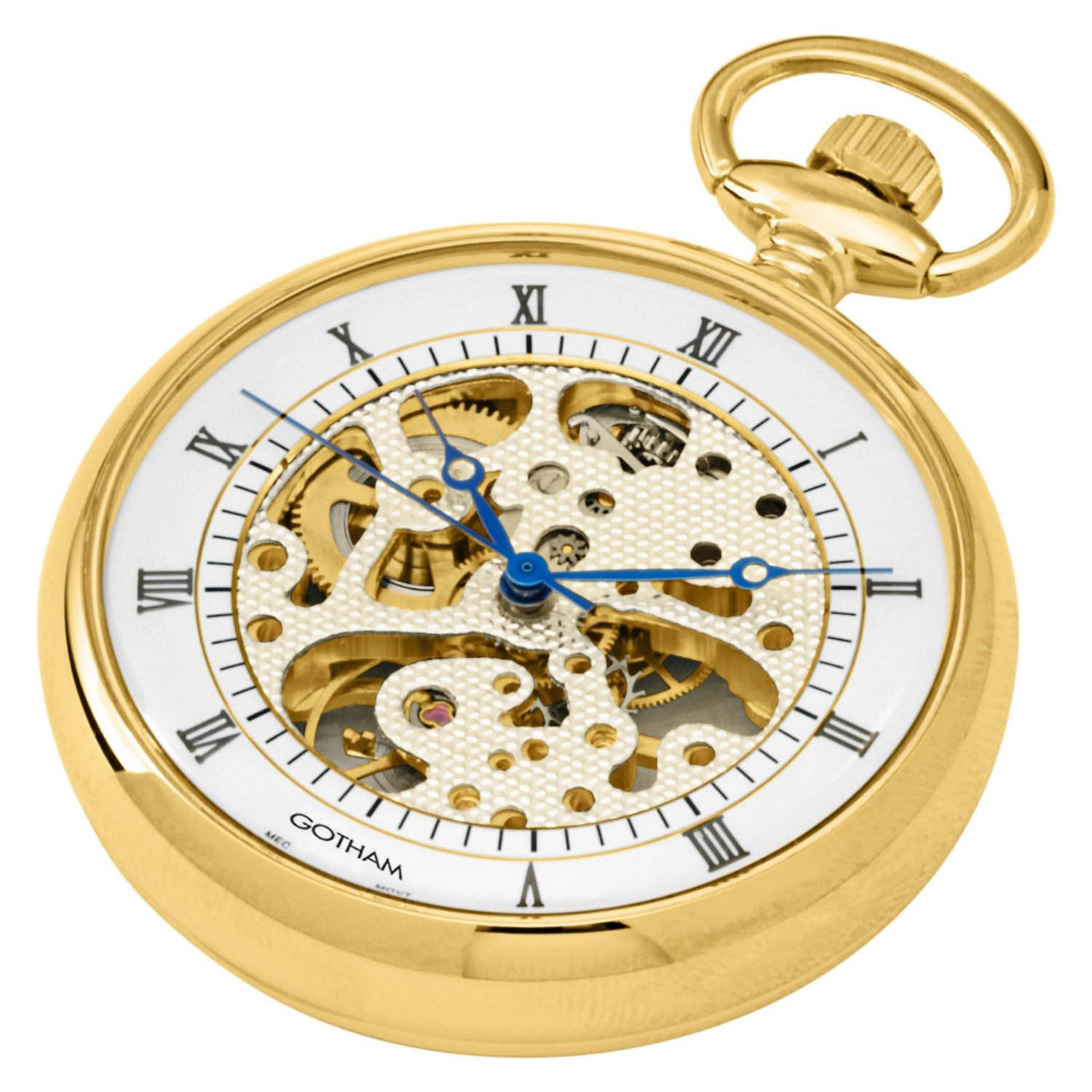 Mens pocket watches with chain images mens gold pocket watches gifts -  Gotham Men S Gold Tone 17 Jewel Exhibition Mechanical Open Face Pocket Watch Gwc14052g