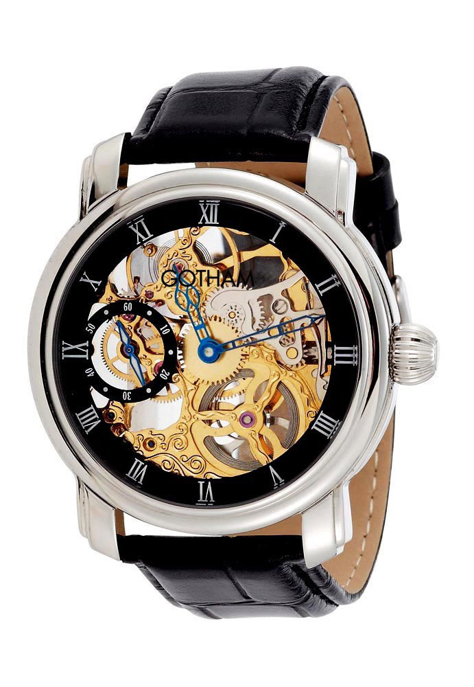 Gotham Men's Stainless Steel Mechanical Skeleton Leather Strap Watch # GWC14059B - Gotham Watch