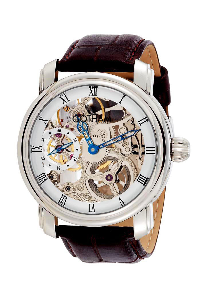 Gotham Men's Stainless Steel Mechanical Skeleton Leather Strap Watch # GWC14059W - Gotham Watch