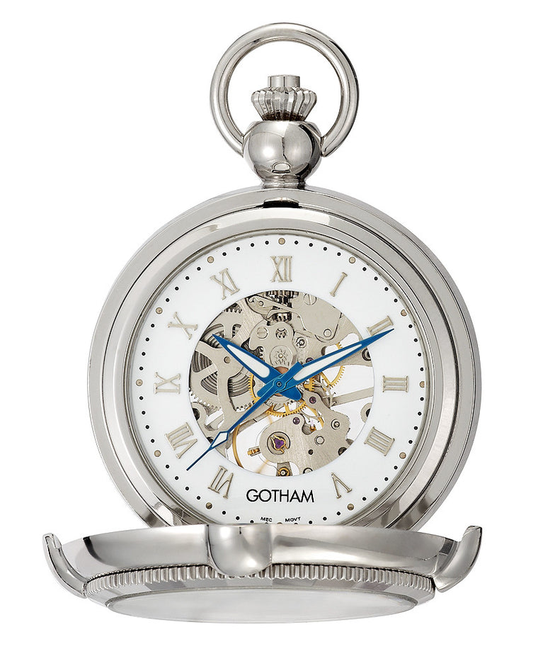 Gotham Men's Silver-Tone Photo Insert Skeleton Pocket Watch with Built-in Stand # GWC14062S - Gotham Watch