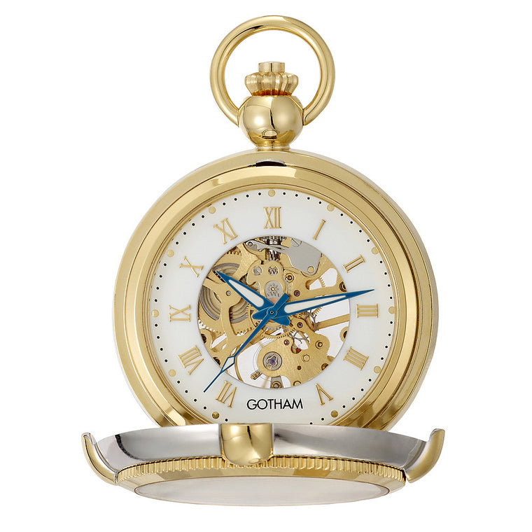 Gotham Men's Two-Tone Photo Insert Skeleton Pocket Watch with Built-in Stand # GWC14062TR - Gotham Watch