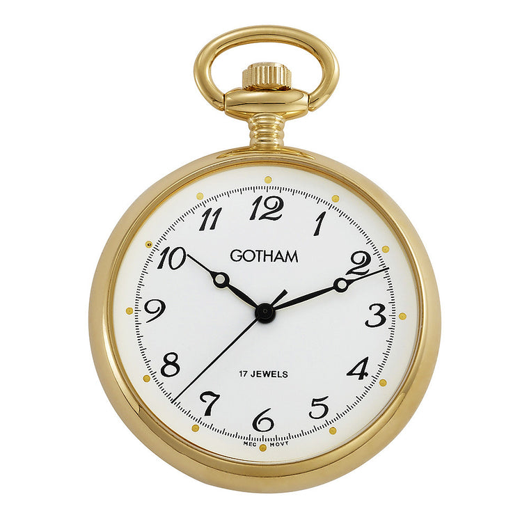 Gotham Men's Gold-Tone Mid-Size Mechanical Pocket Watch with Desktop Stand # GWC14067G-ST