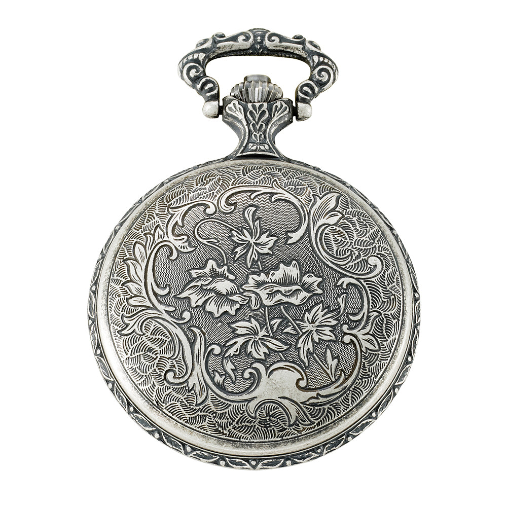 Gotham Men's Silver-Tone Presidential Seal Day-Date Quartz Covered Pocket Watch # GWC14087S - Gotham Watch
