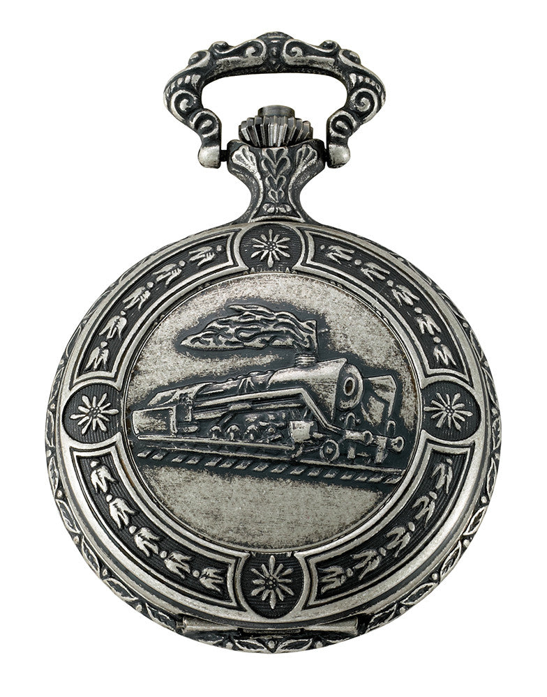 Gotham Men's Antiqued Silver-Tone Locomotive Design Day-Date Quartz Covered Pocket Watch # GWC14088S - Gotham Watch