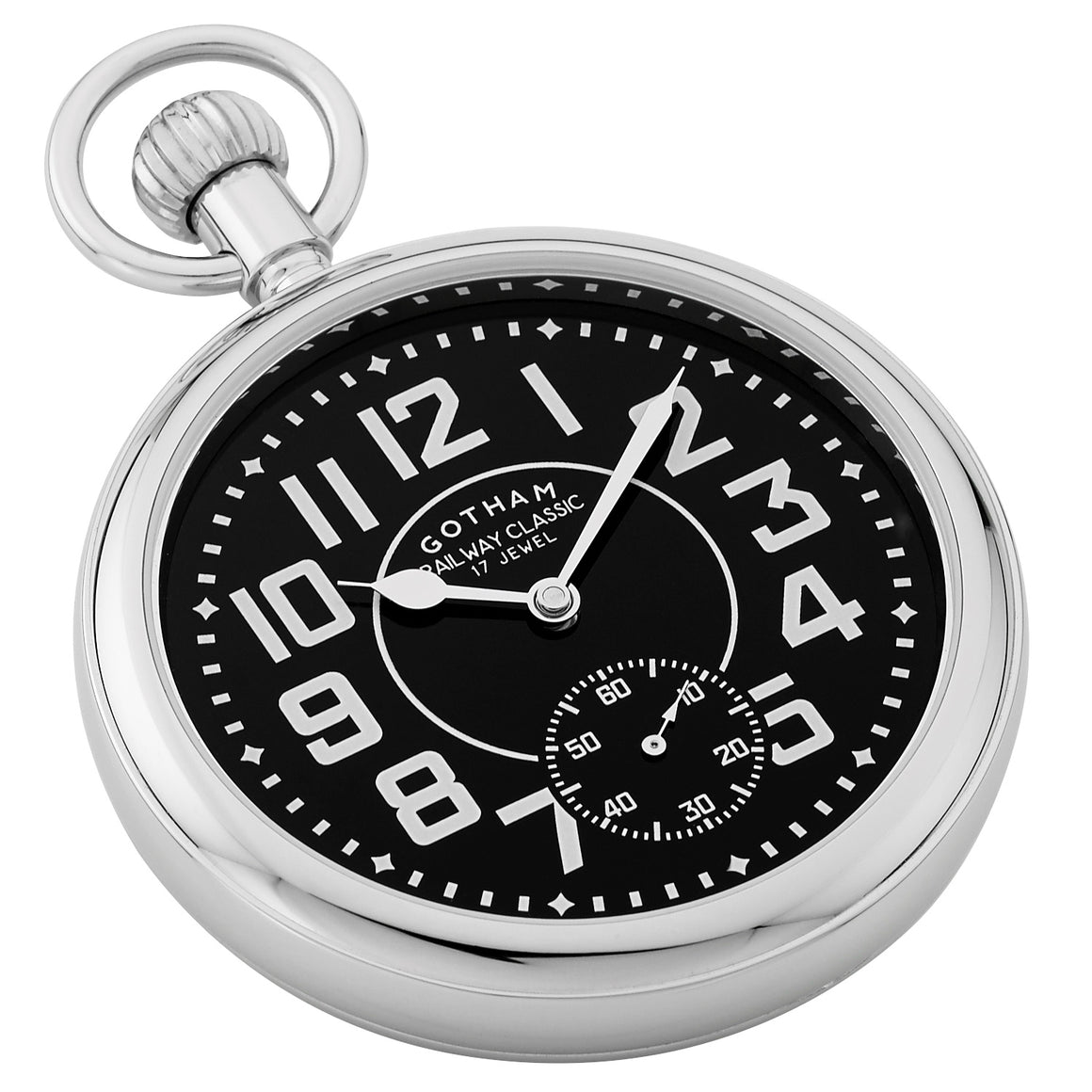 Gotham Men's Silver-Tone Mechanical Hand Wind Railroad Pocket Watch # GWC14102SB