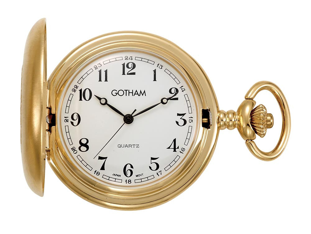 Gotham Men's Gold-Tone Satin Finish Covered Quartz Pocket Watch # GWC14147GA - Gotham Watch